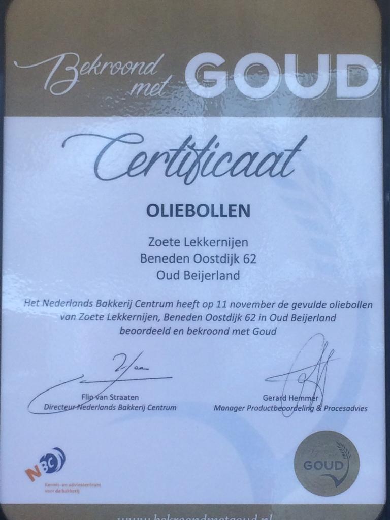 certificaat Nederlands Bakkerij Centrum